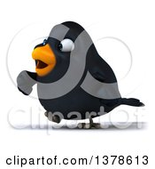 Clipart Of A 3d Black Bird Walking On A White Background Royalty Free Illustration by Julos