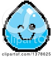 Clipart Of A Winking Water Drop Character In 8 Bit Style Royalty Free Vector Illustration by Cory Thoman