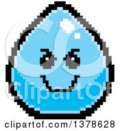Clipart Of A Grinning Evil Water Drop Character In 8 Bit Style Royalty Free Vector Illustration by Cory Thoman