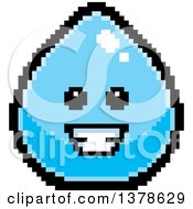 Clipart Of A Happy Water Drop Character In 8 Bit Style Royalty Free Vector Illustration