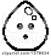 Clipart Of A Black And White Surprised Water Drop Character In 8 Bit Style Royalty Free Vector Illustration