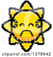 Clipart Of A Crying Sun Character In 8 Bit Style Royalty Free Vector Illustration
