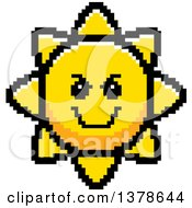Clipart Of A Grinning Evil Sun Character In 8 Bit Style Royalty Free Vector Illustration