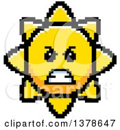 Clipart Of A Mad Sun Character In 8 Bit Style Royalty Free Vector Illustration