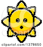 Clipart Of A Surprised Sun Character In 8 Bit Style Royalty Free Vector Illustration
