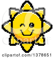 Clipart Of A Winking Sun Character In 8 Bit Style Royalty Free Vector Illustration