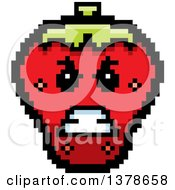 Clipart Of A Mad Strawberry Character In 8 Bit Style Royalty Free Vector Illustration