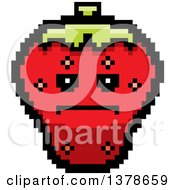 Clipart Of A Serious Strawberry Character In 8 Bit Style Royalty Free Vector Illustration