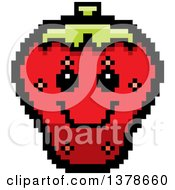 Clipart Of A Happy Strawberry Character In 8 Bit Style Royalty Free Vector Illustration