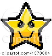 Clipart Of A Grinning Evil Star Character In 8 Bit Style Royalty Free Vector Illustration