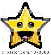 Clipart Of A Happy Star Character In 8 Bit Style Royalty Free Vector Illustration