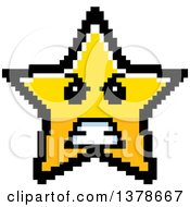Clipart Of A Mad Star Character In 8 Bit Style Royalty Free Vector Illustration