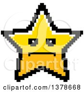 Clipart Of A Serious Star Character In 8 Bit Style Royalty Free Vector Illustration