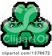 Clipart Of A Crying Clover Shamrock Character In 8 Bit Style Royalty Free Vector Illustration
