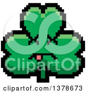 Clipart Of A Dead Clover Shamrock Character In 8 Bit Style Royalty Free Vector Illustration