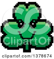 Clipart Of A Grinning Evil Clover Shamrock Character In 8 Bit Style Royalty Free Vector Illustration