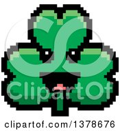 Clipart Of A Happy Clover Shamrock Character In 8 Bit Style Royalty Free Vector Illustration