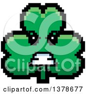 Clipart Of A Mad Clover Shamrock Character In 8 Bit Style Royalty Free Vector Illustration