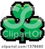 Clipart Of A Surprised Clover Shamrock Character In 8 Bit Style Royalty Free Vector Illustration