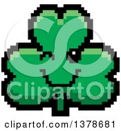 Clipart Of A Winking Clover Shamrock Character In 8 Bit Style Royalty Free Vector Illustration