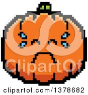 Clipart Of A Crying Pumpkin Character In 8 Bit Style Royalty Free Vector Illustration