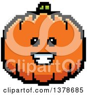 Clipart Of A Happy Pumpkin Character In 8 Bit Style Royalty Free Vector Illustration