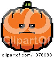 Clipart Of A Serious Pumpkin Character In 8 Bit Style Royalty Free Vector Illustration