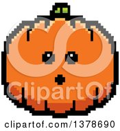 Clipart Of A Surprised Pumpkin Character In 8 Bit Style Royalty Free Vector Illustration
