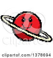 Clipart Of A Grinning Evil Planet Character In 8 Bit Style Royalty Free Vector Illustration
