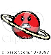 Clipart Of A Mad Planet Character In 8 Bit Style Royalty Free Vector Illustration
