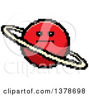 Clipart Of A Serious Planet Character In 8 Bit Style Royalty Free Vector Illustration