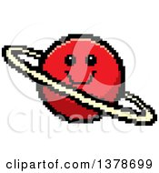 Clipart Of A Happy Planet Character In 8 Bit Style Royalty Free Vector Illustration
