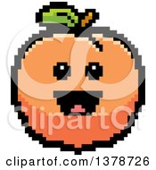 Clipart Of A Happy Peach Character In 8 Bit Style Royalty Free Vector Illustration by Cory Thoman