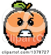 Clipart Of A Mad Peach Character In 8 Bit Style Royalty Free Vector Illustration by Cory Thoman