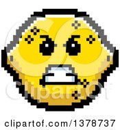 Clipart Of A Mad Lemon Character In 8 Bit Style Royalty Free Vector Illustration