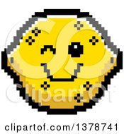 Clipart Of A Winking Lemon Character In 8 Bit Style Royalty Free Vector Illustration