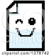 Clipart Of A Winking Note Document Character In 8 Bit Style Royalty Free Vector Illustration