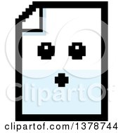 Clipart Of A Surprised Note Document Character In 8 Bit Style Royalty Free Vector Illustration