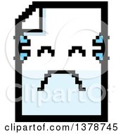 Clipart Of A Crying Note Document Character In 8 Bit Style Royalty Free Vector Illustration