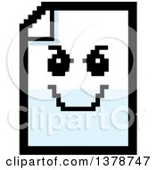 Clipart Of A Grinning Evil Note Document Character In 8 Bit Style Royalty Free Vector Illustration