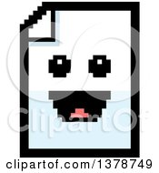 Clipart Of A Happy Note Document Character In 8 Bit Style Royalty Free Vector Illustration
