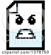 Clipart Of A Mad Note Document Character In 8 Bit Style Royalty Free Vector Illustration