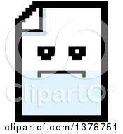 Clipart Of A Serious Note Document Character In 8 Bit Style Royalty Free Vector Illustration