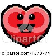 Happy Heart Character In 8 Bit Style