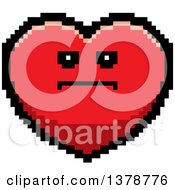 Serious Heart Character In 8 Bit Style