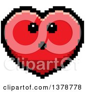 Surprised Heart Character In 8 Bit Style
