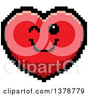 Winking Heart Character In 8 Bit Style