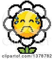 Clipart Of A Crying Daisy Flower Character In 8 Bit Style Royalty Free Vector Illustration