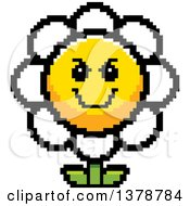 Clipart Of A Grinning Evil Daisy Flower Character In 8 Bit Style Royalty Free Vector Illustration