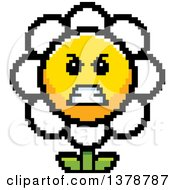 Clipart Of A Mad Daisy Flower Character In 8 Bit Style Royalty Free Vector Illustration